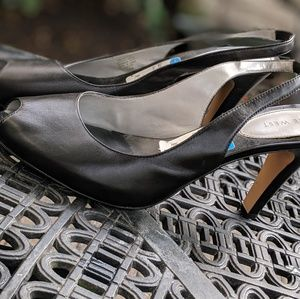 Nine West open toe size 12 sling backs - black